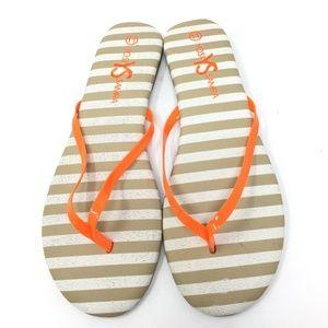 Yosi Samra Roee Orange  Stripe Flip Flops SZ:6-11